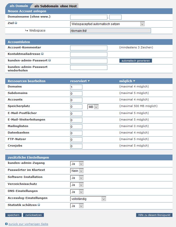 Webhoster Unteraccount für jedes Projekt